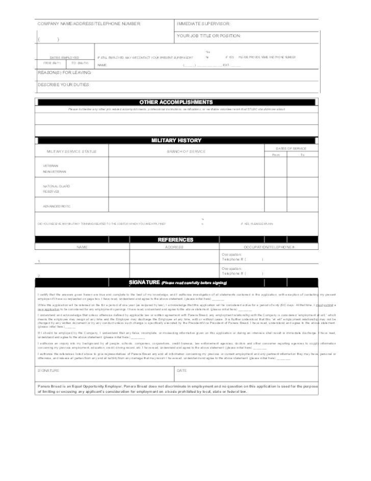 Free Printable Panera Bread Job Application Form Page 2