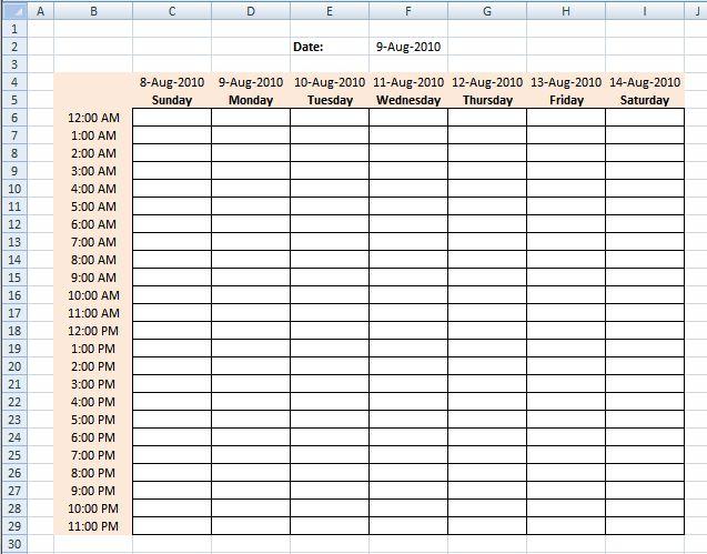 Calendar Maker   weekly calendar template