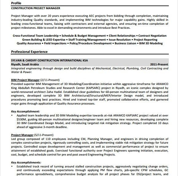 10+ Project Manager Resume Templates - Free PDF, Word, Samples