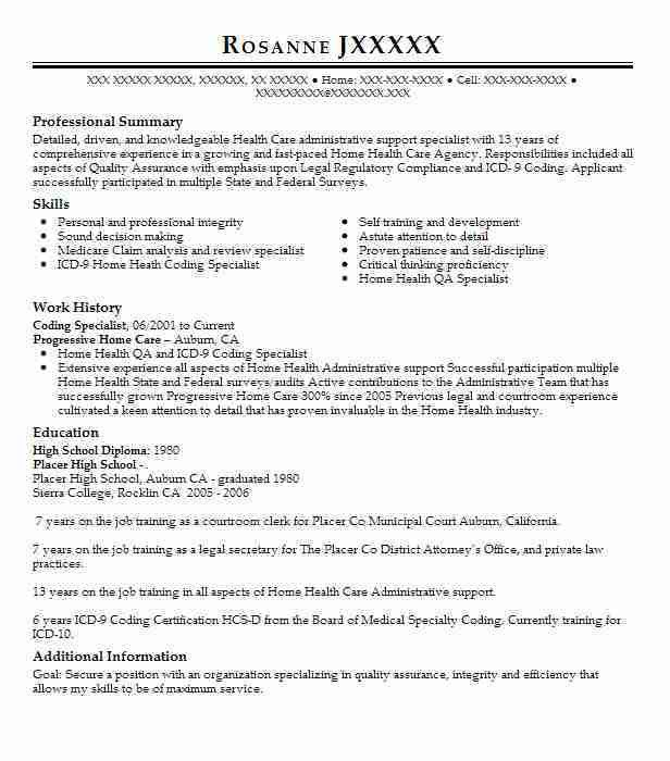 Best Legal Coding Specialist Resume Example | LiveCareer