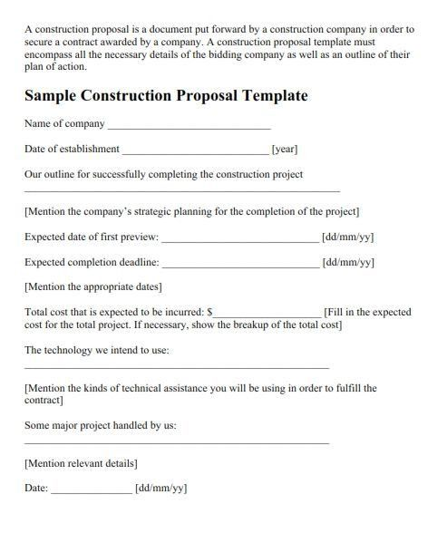 6+ Construction Proposal Templates – Proposal Template