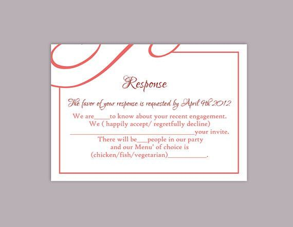 DIY Wedding RSVP Template Editable Text Word File Download ...