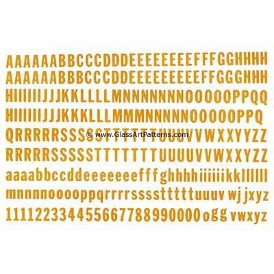 Alphabet & Numbers BLOCK LETTERS GOLD Fusible Glass Decal