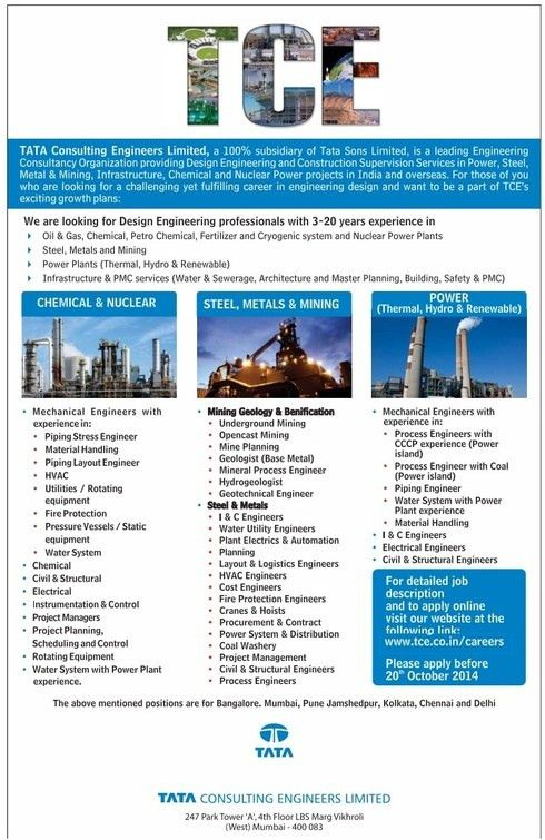 Jobs in TATA CONSULTING ENGINEERS LIMITED, Vacancies in TATA ...