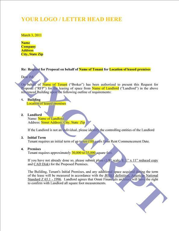 Request For Proposal Tenant Rep | Download Leasing Forms Online