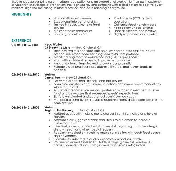 Resume Examples For Restaurant Jobs. Create My Resume Best Server ...