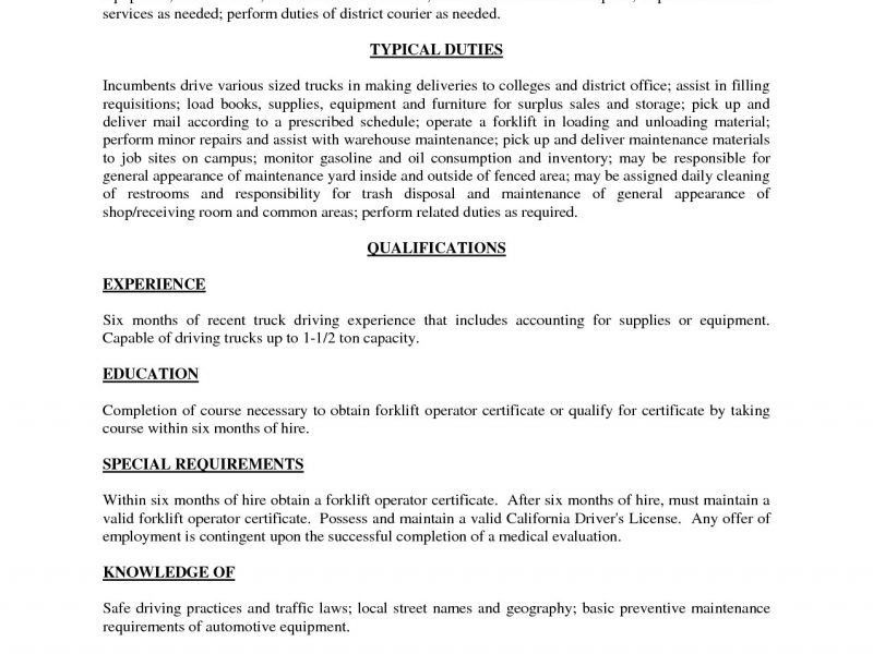 Excellent Inspiration Ideas Forklift Resume 8 Forklift Resume ...