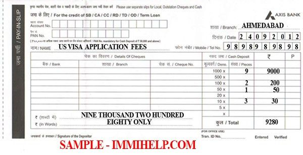 Sample Axis Bank Deposit Slip - US Visa Fee in India