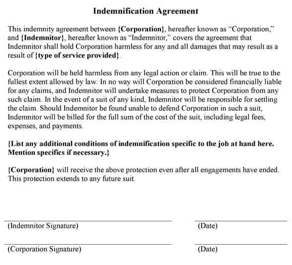Indemnification Agreement Sample