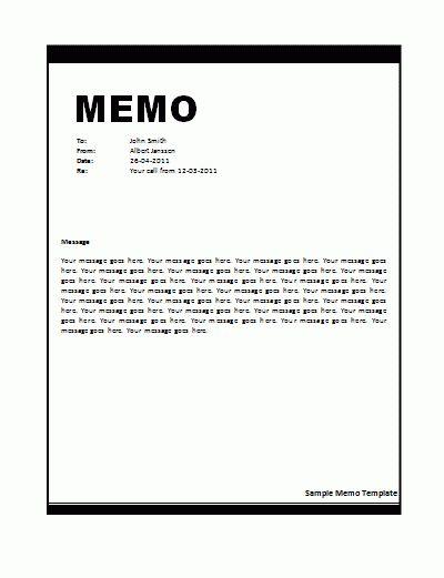 Sample Memo Template | Nice Word Templates