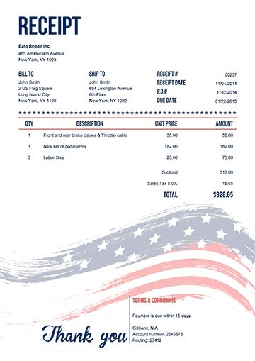 Receipt Template | 100 Free Receipts, Send via Email