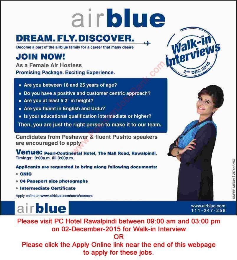 Air Blue Jobs November 2015 December Air Hostess / Female Cabin ...