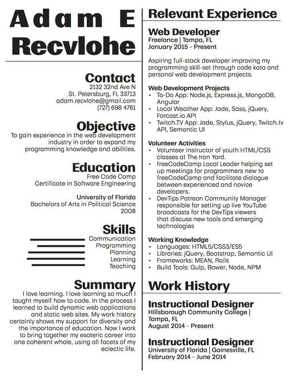How to write a web developer resume - Quora