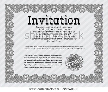Blue Formal Invitation Elegant Design Complex Stock Vector ...