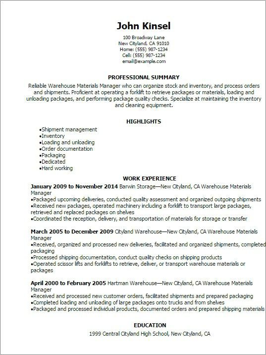 Warehouse Lead Resume] Manager Resume, Warehouse Manager Resume