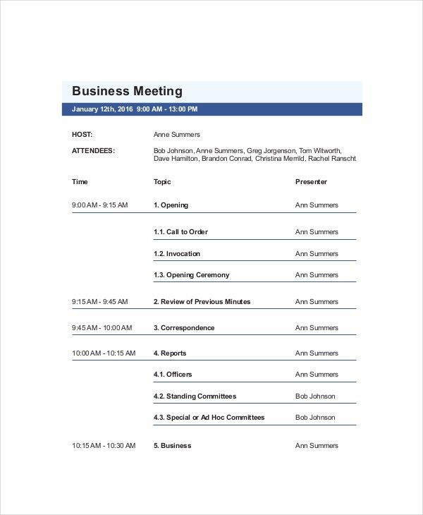 10+ Business Meeting Agenda Templates – Free Sample, Example ...