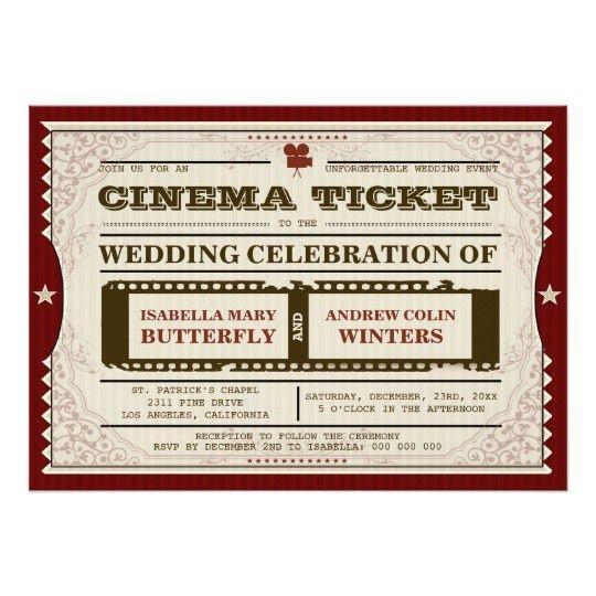 Cinema Ticket - Wedding Invitation   Zazzle.com