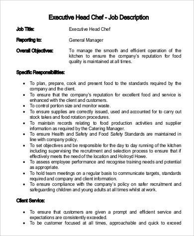 Sample Executive Chef Job Description   9+ Examples In PDF, Word Amazing Design