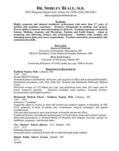 physician resume samples physician resume sample health care