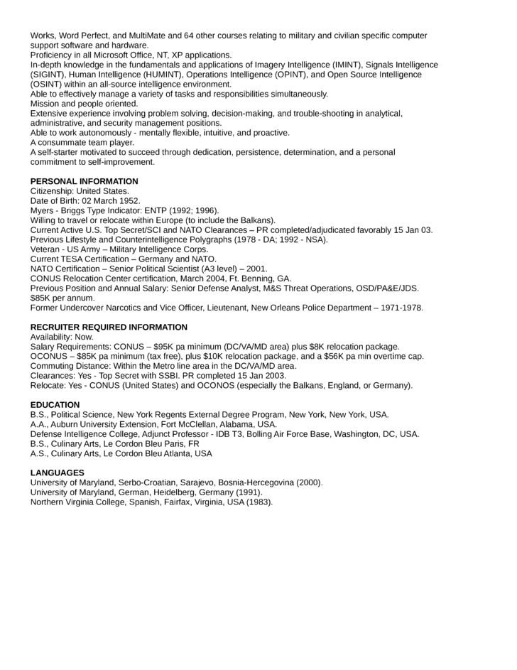 Executive Intelligence Analyst Resume Template   page 2