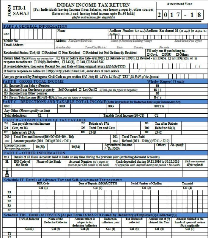 How to file your income tax returns with ITR-1 'Sahaj' form