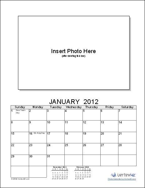 Photo Calendar Template - Create a Printable Photo Calendar