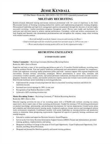 Recruiter Resume Examples. Army Recruiter Resume Sample ...