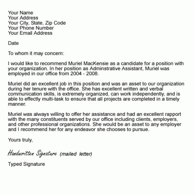 Recommendation Letter Format Resume Templates Builder Sample ...
