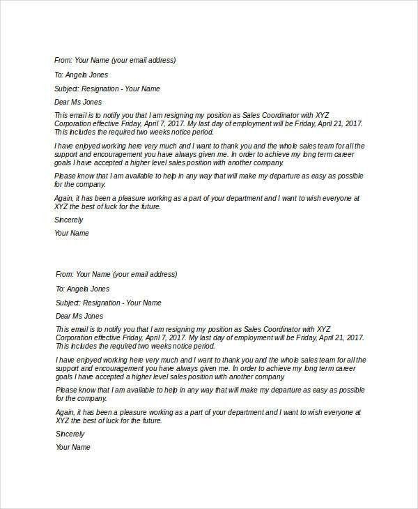 7+ Short Resignation Letter Templates - Free Sample, Example ...