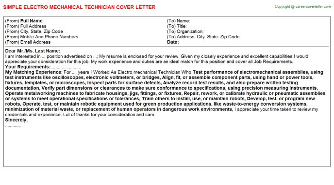 Electro Mechanical Technician Cover Letters