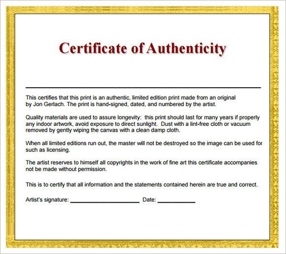 8+ Sample Certificate of Authenticity - Documents in PDF, PSD