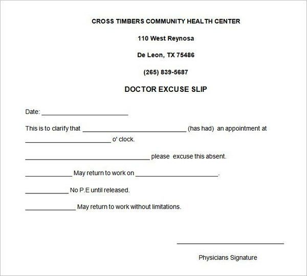 5 Doctors Note For Work Templates - formats, Examples in Word Excel