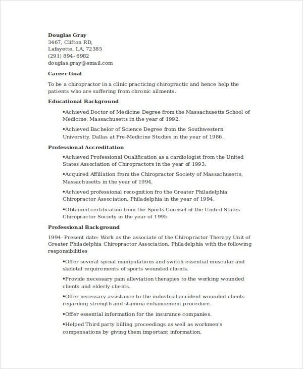 Chiropractic Resume Template - 6+Free Word, Documents Download ...
