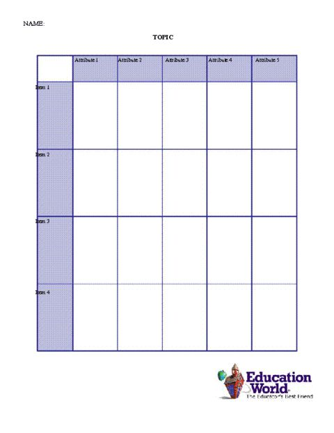 Education World: Comparison Chart Template