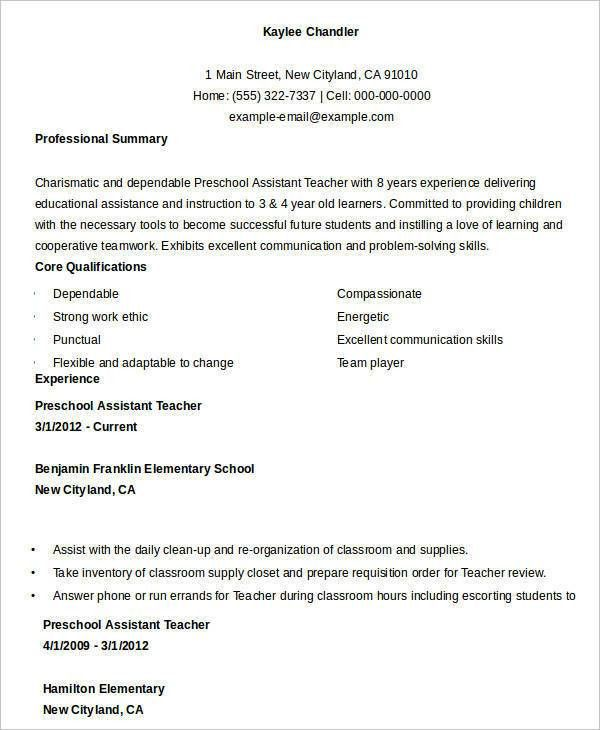 preschool resume sample teacher resume sample page 1 preschool