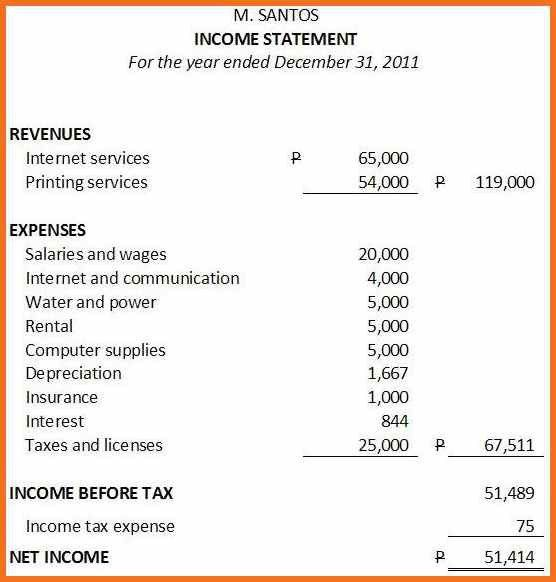 Sample Profit And Loss Statement. Sample Income Statement ...