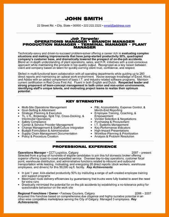 5+ operations manager resume | resume holder