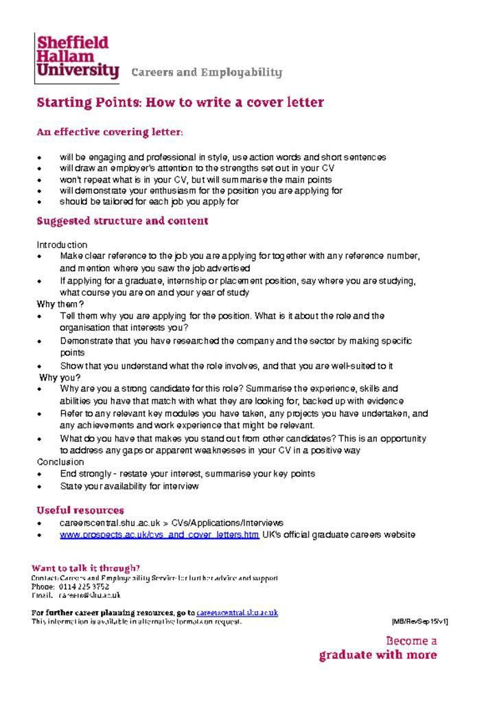 Covering Letter | Careers Central
