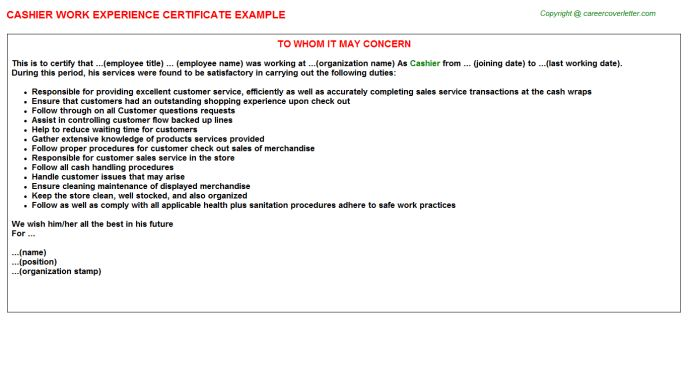 Cashier Work Experience Certificate