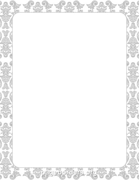 Printable silver damask border. Use the border in Microsoft Word ...
