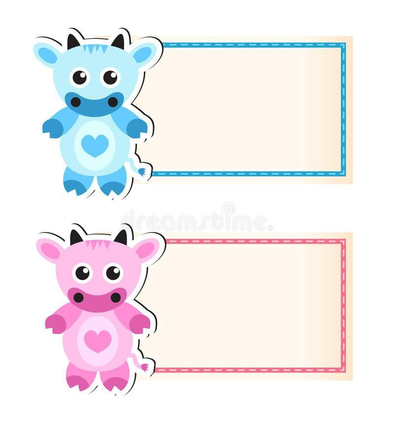 Cow Cute Blank Template For Invitation Stock Vector - Image: 72183449