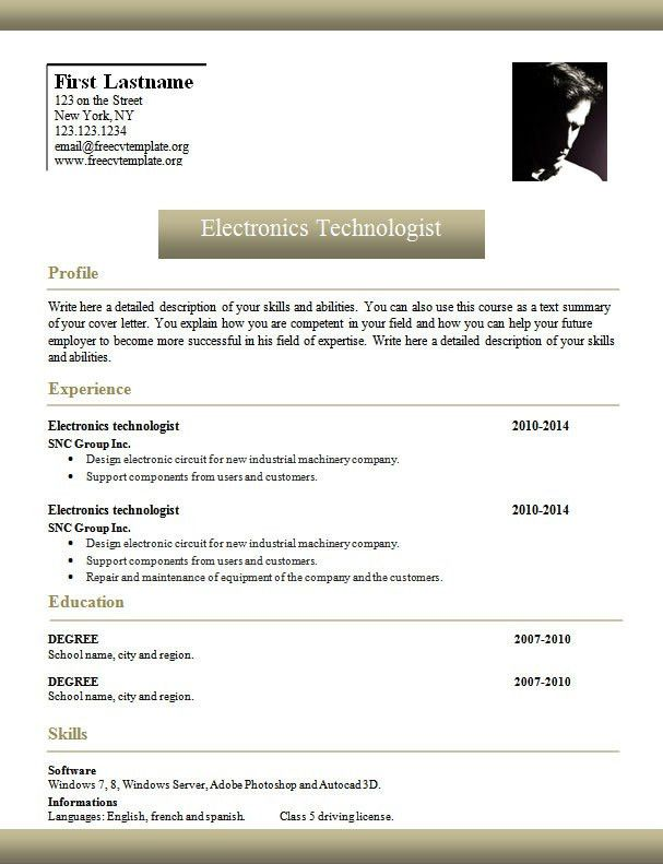 Word Curriculum Vitae Resume Template #961 to 967 – freecvtemplate.org