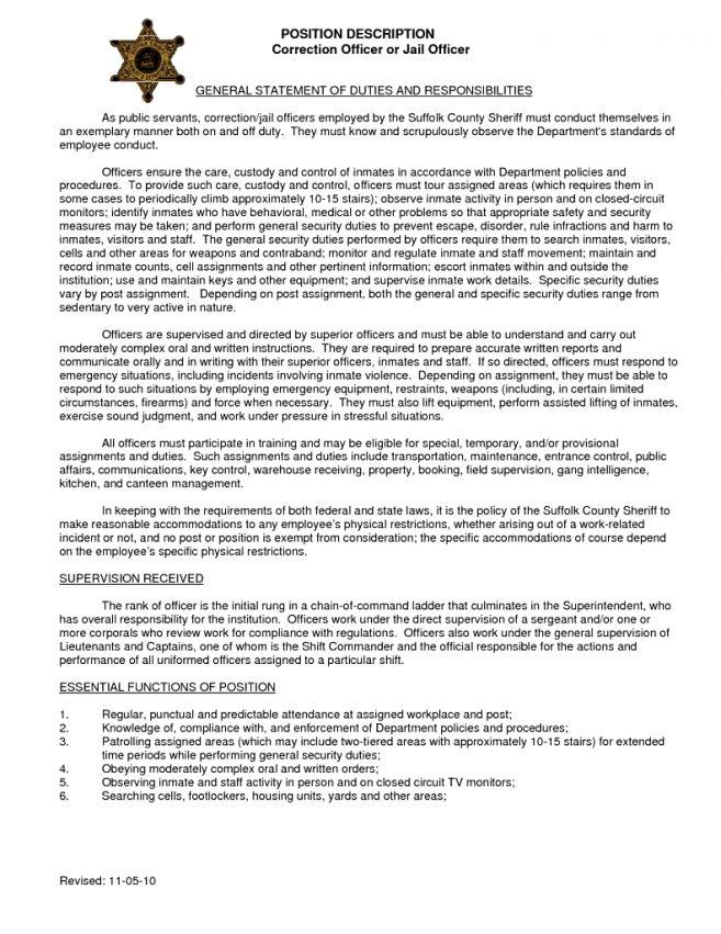 9 Correctional Officer Job Description Resume Job Duties ...