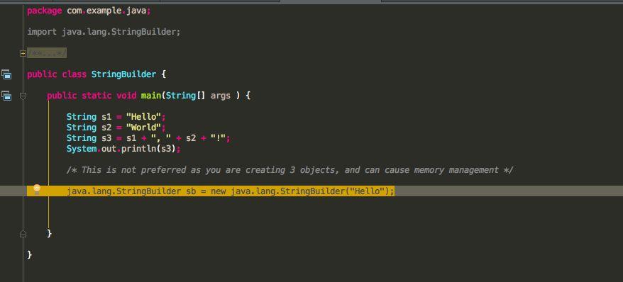 intellij idea - StringBuilder Class in Java Example - Stack Overflow