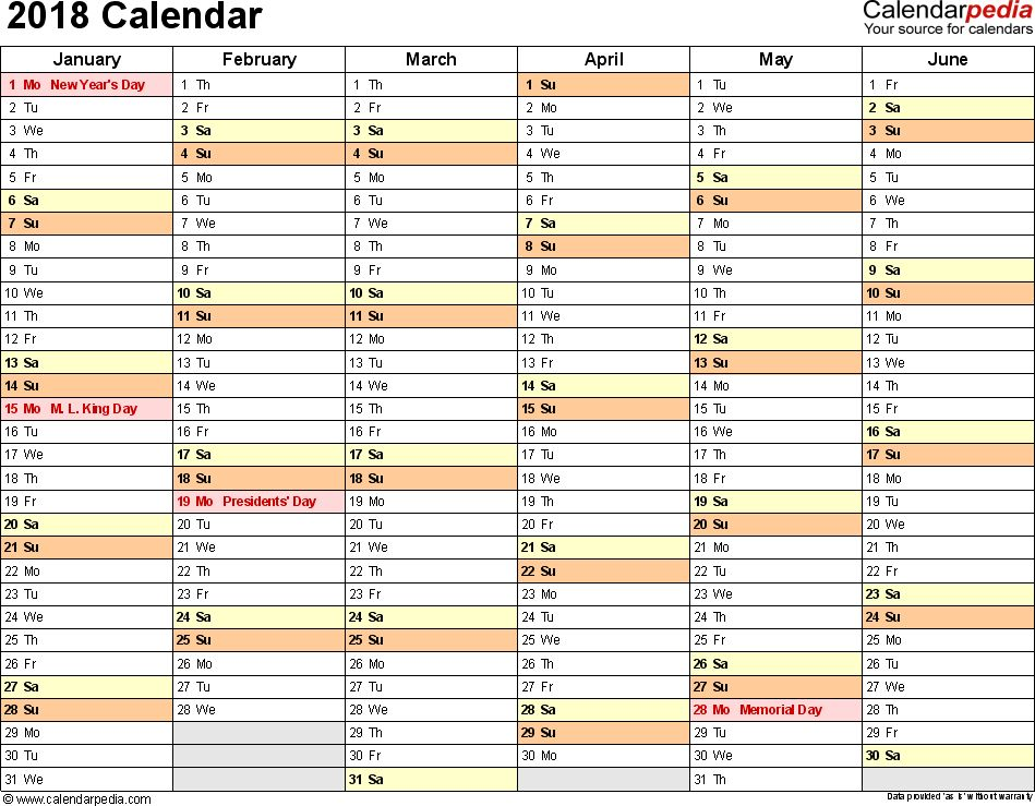 2018 Calendar - Download 17 free printable Excel templates (.xls)