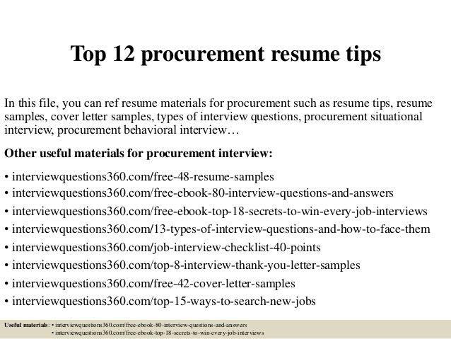 Download Procurement Resume | haadyaooverbayresort.com