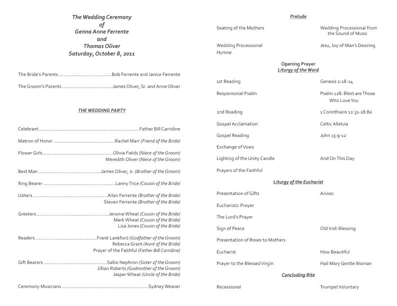 Catholic Wedding Program Template 7