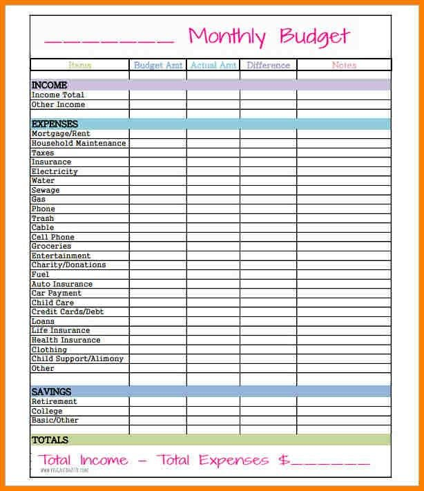 8+ simple monthly budget template | monthly bills template