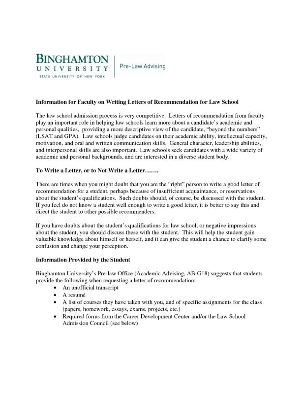 How To Write A Letter Of Recommendation For Law School From ...