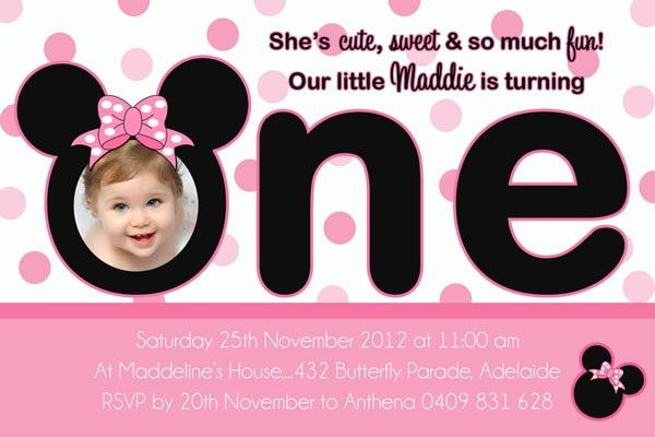 Free Minnie Mouse 1st Birthday Invitations Templates | Amazing ...